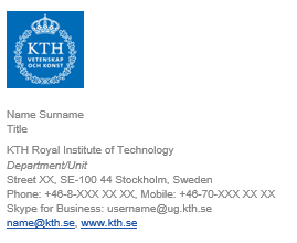 E mail signature kth intranet instructions about using signature templates in outlook toneelgroepblik Image collections