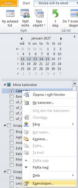 dela kalender outlook