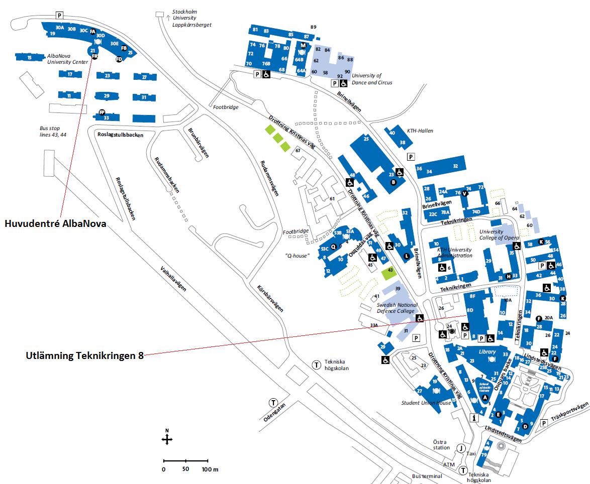 kth karta Karta KTH Valhallavägen | SCI internsidor kth karta