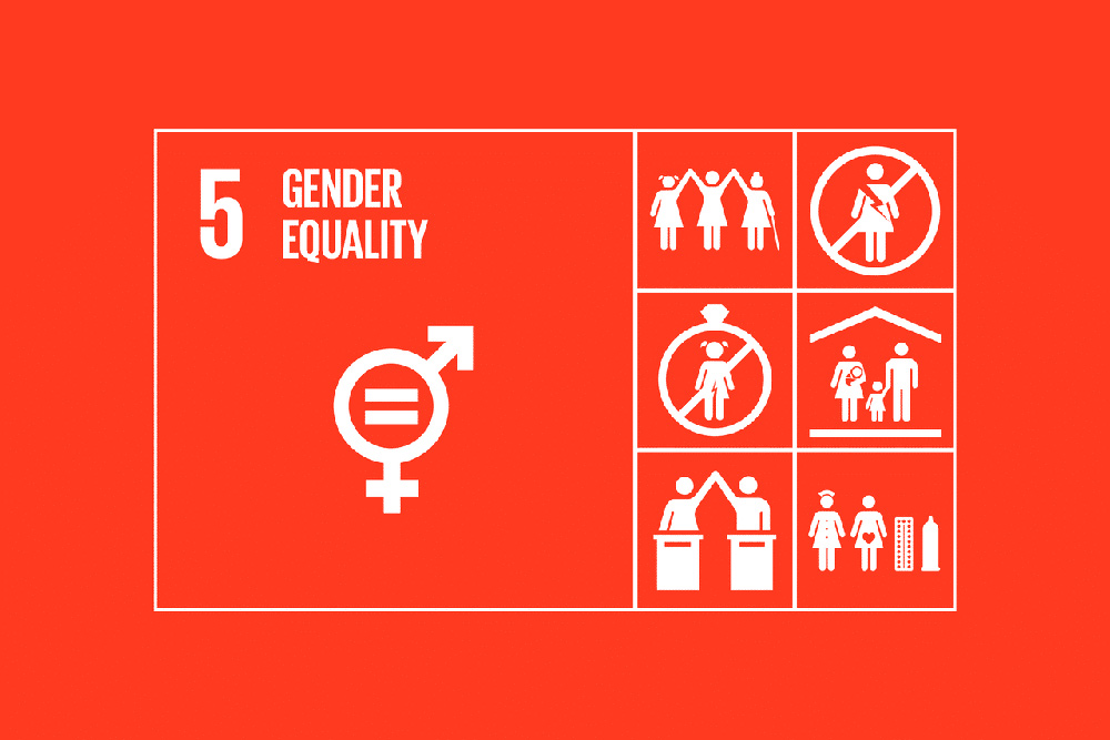 Graphic illustration of SDG no 5 (UN Sustainable Development Goal about gender equality).