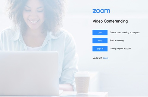 screenshot Zoom's homepage login view