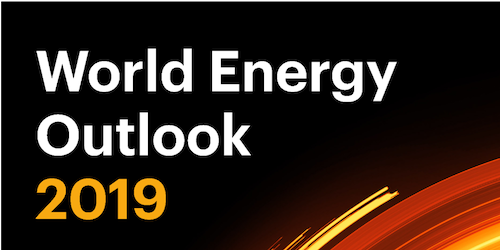 Event picture (black background) with text: World Energy Outlook 2019